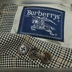 BURBERRY Sport Coat Tooth Plaid Check Blazer Wool